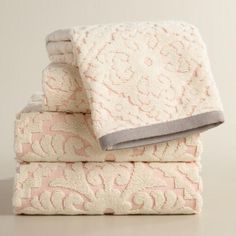 One of my favorite discoveries at WorldMarket.com: Blush Barcelona Tile Sculpted Towel Collection