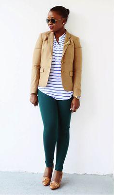 emerald pants, camel coat and stripes