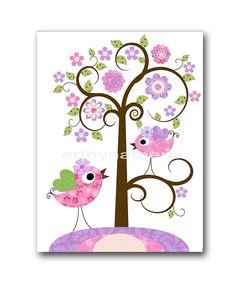 Rosa lavanda púrpura aves vivero arte vivero por artbynataera