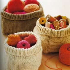 Knitted baskets for yarn