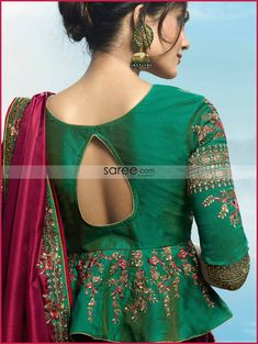Wine Silk Saree with Peplum Style Keyhole Blouse Back Design Latest Saree Blouse, Latest Silk Sarees, Saree Jacket Designs, Fancy Blouse Designs, Lehnga Blouse, Peplum Blouse, Designer Blouse Patterns, Altered Couture, Fancy Sarees