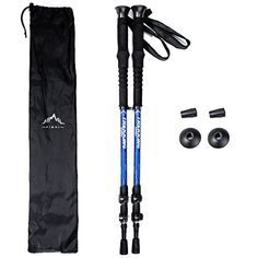 Himal Outdoors 2 PCS Adjustable Travel Hiking Walking Stick Trekking Pole with EVA Foam Handle,Quick Adjust Flip-lock - Cork Grip, Padded Strap (Blue-Silver). For product & price info go to:  https://all4hiking.com/products/himal-outdoors-2-pcs-adjustable-travel-hiking-walking-stick-trekking-pole-with-eva-foam-handlequick-adjust-flip-lock-cork-grip-padded-strap-blue-silver/