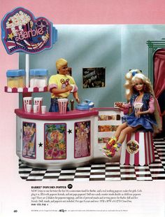 What's better than a hamburger stand? Your own concession stand — which I'm assuming is part of her own private movie theater, which is SOLD SEPARATELY. | The 19 Most Ridiculously Awesome Things About This 1991 Barbie Catalog