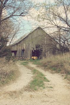 Winding path to the old barn. From: Emilialua please visit.This looks like my Grandad McCullough's barn in the Ozark country. We played for hours in the loft and all around the barn. Farm Barn, Old Farm, Country Barns, Country Life, Country Living, Country Charm, Country Roads, Abandoned Houses, Old Houses