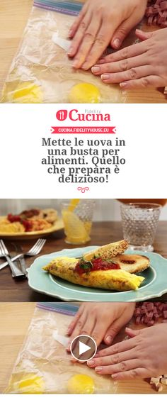 Omelette in busta Proper Tasty, Kitchen Confidential, Yummy Mummy, Microwave Recipes, Omelette, Antipasto, Food Lists, Cooking Time, Finger Foods