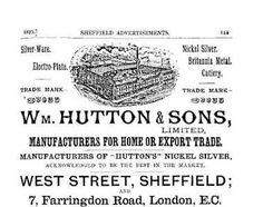 William Hutton & Sons Sheffield: a 1895 advertisement Happy City, Sheffield Silver, Old And New, Sons, Derbyshire, Yorkshire, French, French People, French Language