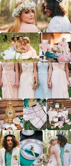 Rustic Whimsical Tea Party Themed Alice in Wonderland Boho Wedding Ideas