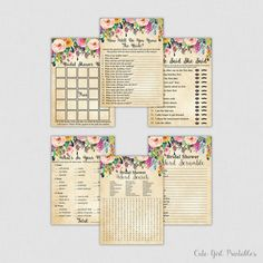 Bridal Shower Games - Floral Bridal Shower Games Package Six Games Included - Printable Bridal Shower Games - Floral Bridal Shower -0001C