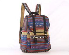 Hipster Backpack Native Tribal Day pack Stylish Collage, School Backpack for Men/Women (Black Trim)