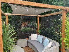 Metal Garden Screens, Garden Privacy Screen, Outdoor Privacy, Outdoor Pergola, Outdoor Seating, Privacy Landscaping, Privacy Screens, Garden Screening, Hot Tub Gazebo