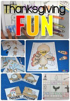 Thanksgiving FUN lessons for kindergarten