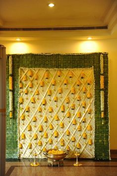 Gold fabric and green bananas and leaves use the colour theme for 25 handpicked backdrop ideas for the bridal events at home junglespirit Image collections