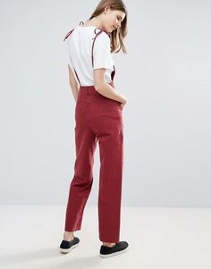 cfa4c852a922 ASOS TALL Denim Jumpsuit in Raspberry With Tie Straps - Pink Online  Shopping Clothes