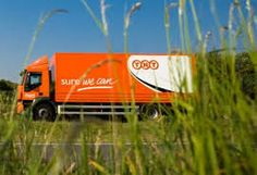 TNT fixed back medium delivery lorry truck