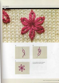 Guide Points in Crochet Embroidery Knitting - Crochet Patterns Baby Knitting Patterns, Knitting Stitches, Knitting Designs, Knitting Projects, Crochet Patterns, Embroidery On Clothes, Wool Embroidery, Hand Embroidery Stitches, Creative Knitting