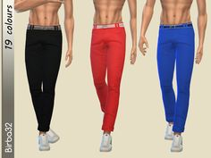 Men's pants with matching belt. In a series of whimsical bright colors and pastel, or in classic white and black  Found in TSR Category 'Sims 4 Male Everyday'
