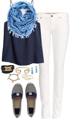 Always modern style - seafarers style for Lady's / Woman! White Jeans, striped shoes, Navy Blue Top, Gold Accessories