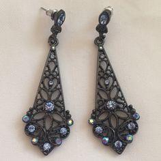 Beautiful blue rhinestone earrings Gorgeous earrings. Worn twice. Great for evenings. Offers welcome Jewelry Earrings