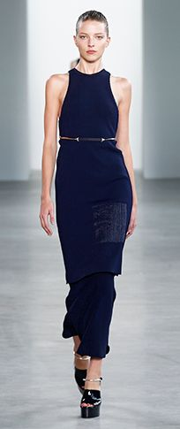 navy compact technical sleeveless dress navy engineered viscose fluted skirt stainless belt navy patent/Lucite stainless bracelet platform