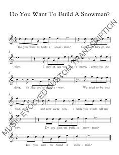 """A custom arrangement of """"Do You Want To Build A Snowman"""" from Disney's Frozen.  Transposed and simplified for beginner music students.  For guitar, piano, and any treble clef instrument.  Key of C.  We will transpose and arrange for ANY instrument!  Order today on Fiverr!: http://www.fiverr.com/musicevolved/transcribe-your-song-or-beat-to-sheet-music"""