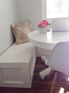 DIY Nooks and Banquettes • Ideas & Tutorials! Including this wonderful diy corner nook from 'ashley ella design'.