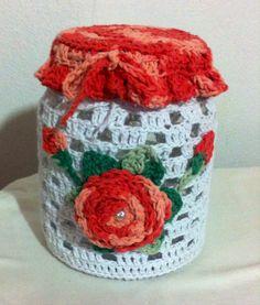 Vidro decorado croche