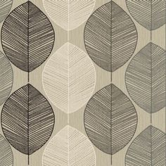 Retro Leaf Taupe (408206) - Arthouse Wallpapers - A retro leaf motif design drawn in fine lines on subtle paint wash effect background. Shown in silver, brown and cream on pale taupe beige. Please request sample for true colour match.