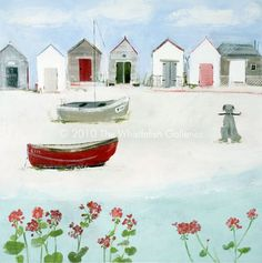 Picture by Hannah Cole. Beside the Old Red Boat. Drawing Projects, Naive Art, Affordable Art, Easy Paintings, Art Pictures, Beach Pictures, Simple Art, Beach Art, Artist Painting
