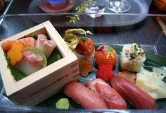 Sakura crystal bento box of sushi and sashimi at Sake No Hana, London