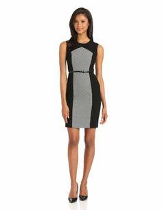 Calvin Klein Women%27s Colorblock Dress Tih Belt