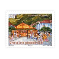 Krásna poštová známka Francúzskej Polynézie zobrazujúca scény zo života včera a dnes.
