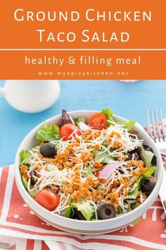 Ground chicken taco salad is a healthy filling salad for weeknights. Ground chicken sauteed with taco seasoning and tossed with veggies of choice a delicious meal. Ground Chicken Tacos, Ground Chicken Recipes, Best Chicken Recipes, Beef Recipes For Dinner, Mexican Food Recipes, Cooking Recipes, Turkey Recipes, Easy Cooking, Summer Recipes