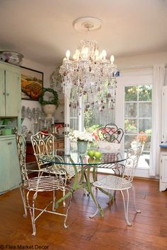 Kitchen the light green cupboard, wood floors and chippy iron garden chairs. Porch Furniture, Iron Furniture, Vintage Furniture, Vintage Chairs, Vintage Decor, Outdoor Furniture, Shabby Chic Cottage, Shabby Chic Decor, Cottage Style