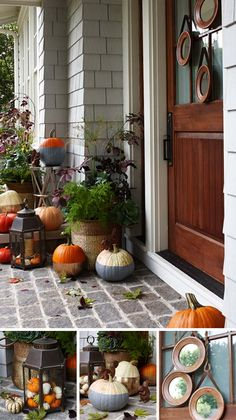 Dress up your doorstep with metallics and outdoor decor for a modern take on traditional fall-time faves.