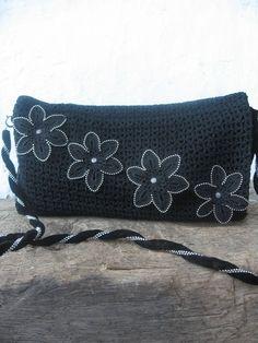 Elegant Black Crocheted Bag