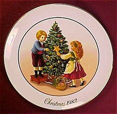 1982 Avon Christmas Plate:Keeping the Chrismas Tradition: by Anon. $25.51. Collectible Avon Plate. Christmas 1982. 1982 Avon Christmas Plate:Keeping The Christmas Tradition.: 9inch ceramic plateTrimmed with 22K Gold.Second in a series of limited edition porcelain plates.Shows 2 children decorating the Tree.on back of plate says Secon Edition Christmas Memories.Do not use for food.Decoration only.