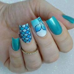 Birthday Nail Art, Unicorn Outfit, Beach Nails, Mermaid Nails, Cute Nail Designs, Nail Arts, Nail Inspo, Toe Nails, Acrylic Nails
