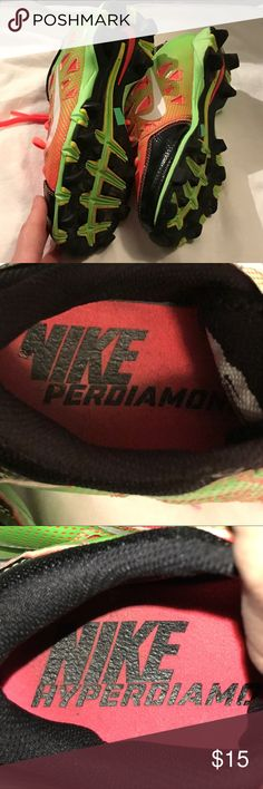 Nike girls softball cleats Nike Perdiamond Performance softball cleats size 3.5 youth. Excellent used condition. Lots of runs left in these babies. 🎾 Nike Shoes Sneakers