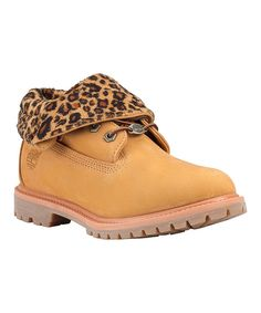 Loving this Timberland Wheat & Leopard Authentics Roll-Top Leather Boot - Women on #zulily! #zulilyfinds
