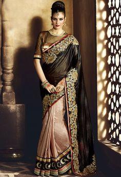 Beige Lycra Designer Saree With Embroidery Work 36646