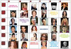 D'aprés une idée originale trouvée sur le Pinterest, j'ai adapté le document avec des stars espagnoles ou latinoaméricaines. Pour jouer: (EOC) Il suffit de lancer 2 fois le dé. Le résultat des 2 lancés correspondra aux coordonnées sur le document. L'élève...