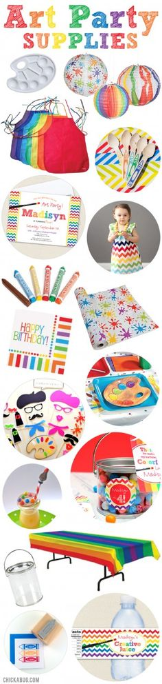 Art party supplies. Great stuff to throw an amazing art party!