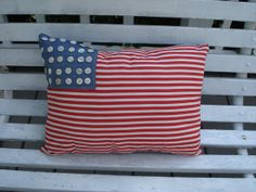 Vintage Fabric USA Flag Pillow with Buttons Americana by leewynne, $35.00
