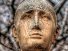 wooden face (cropped from photo by Sergio), unknown artist