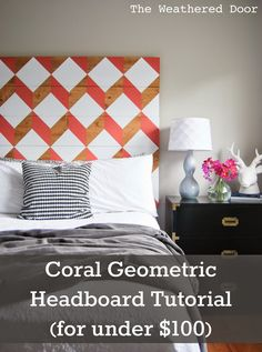 The Weathered Door: DIY Geometric Planked Wood Headboard Tutorial (for under $100)