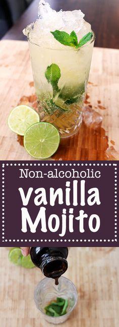 Non-Alcoholic Vanilla Mojito - Something Tasty Vanilla Paste, Popular Drinks, Lime Wedge, Non Alcoholic, Mojito, Vegetarian, Mint, Tasty, Meals