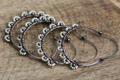 Rustic Wrapped 'Daisies' Hoops by Tribalis on Etsy