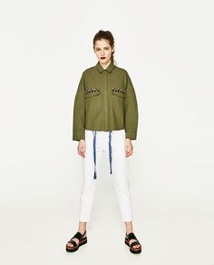 ZARA - WOMAN - EMBROIDERED SHIRT WITH POMPOMS