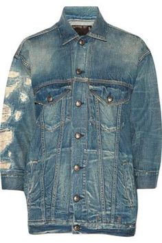 Oversized distressed denim jacket #jacket #offduty #covetme #r13