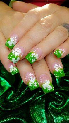 Birthday Nail Designs, Birthday Nails, Birthday Design, Hot Nails, Hair And Nails, Patrick Nagel, St Patricks Nail Designs, Irish Nails, St Patricks Day Nails